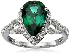 10K White Gold Created Emerald with Created White Sapphire Teardrop Ring, Size 7