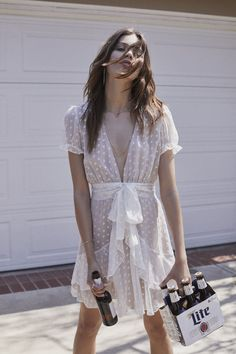Fire Cracker Mini Dress, $243, available at For Love & Lemons.  What We Actually Want To Wear On The 4th Of July #refinery29