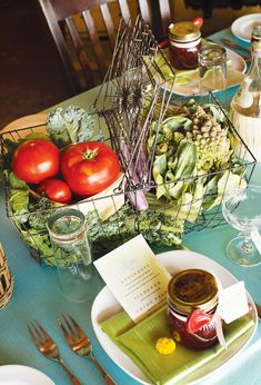 "vegetable-basket-centerpiece  ""stunning Rustic 'Farm to table' bridal shower"""