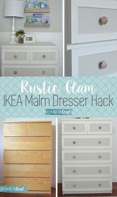 IKEA Malm Dresser Hack for a Rustic Glam Nursery | A Shade Of Teal