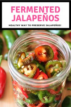 An easy recipe for fermented jalapenos! These probiotic rich fermented vegetables are the perfect way to preserve your favorite spicy pepper. Hot Sauce Recipes, Vegetarian Recipes, Healthy Recipes, Easy Recipes, Healthy Food, Pickled Hot Peppers, Fermentation Recipes, Jalapeno Recipes, Fermented Foods