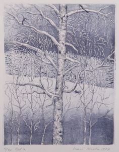 Inari Krohn (finlandais, né en Luminen koivu 1977 Grafiikka cm via Topiary, Finland, Painting & Drawing, Illustration, Modern Art, Drawings, Nature, Rocks, Trees