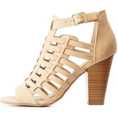 Delicious Huarache Chunky Heel Sandals featuring polyvore, women's fashion, shoes, sandals, beige, beige sandals, block-heel sandals, strap sandals, strappy heeled sandals and heeled sandals