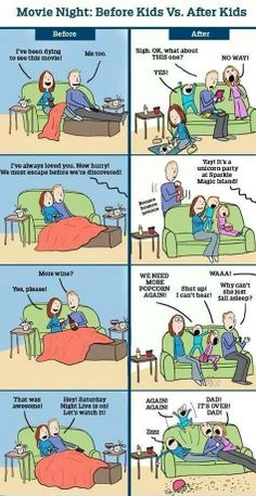 Movie night before and after kids