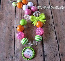 Initial Bottlecap Bubblegum Beads Kids Necklace