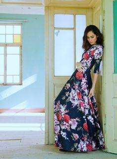 Maxi  flower print dress / NelliUzun via Etsy