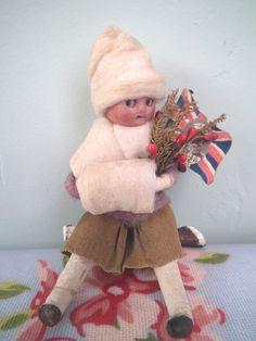 Antique Heubach Cotton Googly Bisque Christmas Decoration Doll