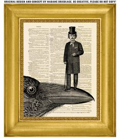 Edgar Allan Poe Portrait with Raven dictionary art print: vintage upcycled antique book page. $10.00, by Madame Bricolage via Etsy. >> for MR. HARRIS!