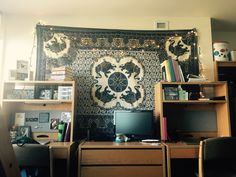Loyola University Chicago San Francisco Hall. Elephant Tapestry With  Christmas Lights In Dorm Room. Part 14