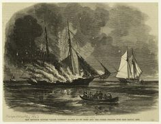"""The Revenue Cutter """"Caleb Cushing"""" Blown By Reed And The Other Pirates Who Had Seized Her. New York Public Library, Printables, Digital, Painting, Art, Art Background, Print Templates, Painting Art, Kunst"""