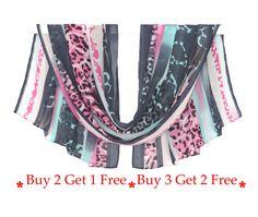 blue pink scarf chiffon scarf pattern scarf от AnnushkaHomeDecor