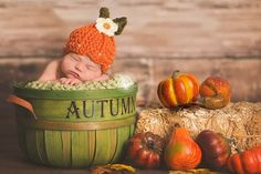 Pumpkin Hat - Fall Autumn Hat - Thanksgiving Hat - Photography Prop - Baby Girl