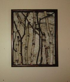 This Beautifully Framed Birch Art will enhance any wall.  The frame:  17 X 21 outside dimensions  I made the frame from 1x3 pine and stained it with Dark Walnut. I can stain another color to match your Decor on custom orders.  There are 2 coats of Semi Gloss clear poly to protect the frame.  Enhancements: The Birch Bark is Left Natural.  I added natural Birch Branches to the frame for a 3-D affect. Pictures do not do this piece justice.  Comes ready to hang. I include a J hook hanger for…