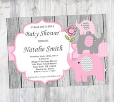 Baby Shower Invitation Elephant Baby Shower Invitation Girl Baby Shower Invitation Editable (50-1W) -Free Thank You Card - Instant Download by diymyparty on Etsy