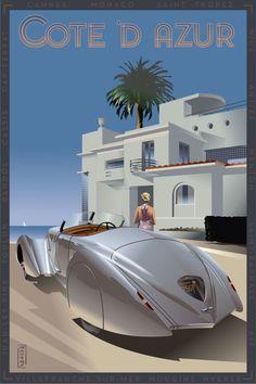 California College Of Arts, Art Deco Car, Plakat Design, Art Deco Illustration, Art Deco Posters, New York Art, Automotive Art, Vintage Travel Posters, Art Deco Design