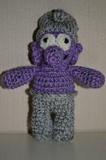 Crochet Smurf - purple and grey /   Heklet Smurf - lilla og grå
