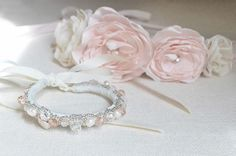 blush made rose tie up crown  beadwork crystal, fresh water pearl tie up cuff