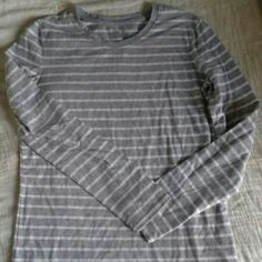 White & Grey Striped Long Sleeve Shirt Used in excellent condition.  100% cotton Tops Tees - Long Sleeve