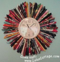 Recycled magazine fan clock...great for craft room!