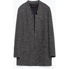 Zara Long Blazer (6.700 RUB) ❤ liked on Polyvore featuring outerwear, jackets, blazers, grey, shell jacket, zara blazer, longline blazer, long blazer and lined jacket