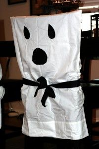 Ghost Chair Covers from a pillow case. Great for the Halloween season and/or a party.