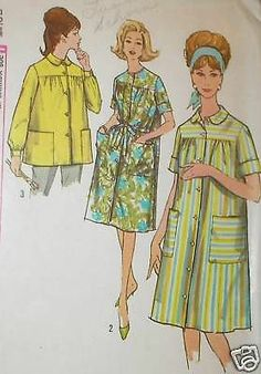 Vtg 60s Simp 4572 Smock Duster House Dress Pattern 32B