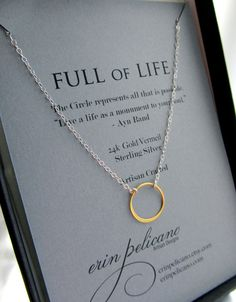 Teacher Gift .Circle Necklace. Delicate Silver and by erinpelicano, $49.00