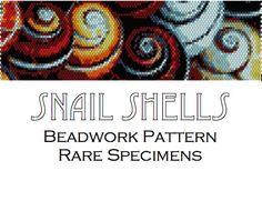 Snail Shells Peyote Stitch Beadwork Pattern  Cuff by RareSpecimens Peyote Stitch Patterns, Seed Bead Patterns, Loom Patterns, Beading Patterns, Peyote Beading, Beaded Bracelet Patterns, Jewelry Patterns, Beadwork Designs, Locs