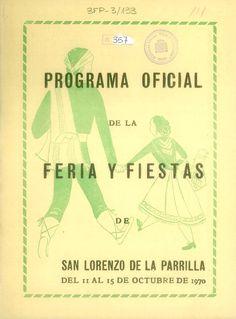 Programa oficial de la feria y fiestas de San Lorenzo de la Parrilla (Cuenca). Del 11 al 15 de octubre de 1970. #Fiestaspopulares #SanLorenzodelaParrilla #Cuenca