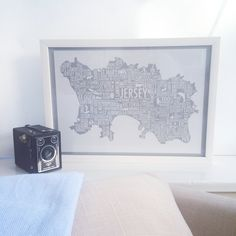 Jersey Typography Map in Grey Available at: www.thememorymix.com  #prints #jerseyci #thememorymix #typography #design #map #homedecor #grey #colour #wallart #walldecor #decorideas