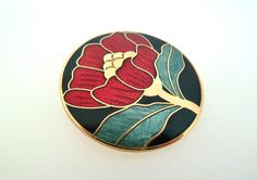 Cloisonné enamel red flower brooch by Fish and Crown. 80s
