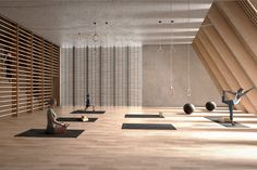 Cobe - the waterfall gym design, waterfall, gym workouts, architecture, arq Yoga Studio Design, Yoga Room Design, Club Design, Gym Design, Wellness Fitness, Yoga Fitness, Gym Interior, Interior Design, Yoga Studio Interior