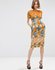 ASOS | ASOS Border Print Wiggle Dress in Placement Floral Print at ASOS