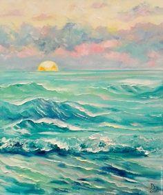 Купить Индийский океан - бирюзовый, море, морская волна, масляная живопись, пейзаж, картина в подарок