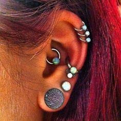 Opal Cartilage Ring Hoops at MyBodiArt