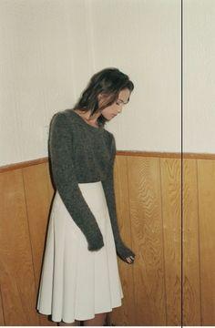 white midi skirt + grey sweater