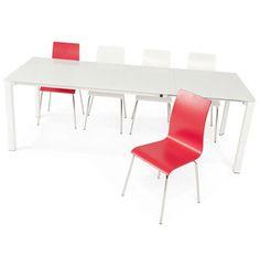 Vous aimez le design ? La table Jeanne et les chaises de couleur mettront de la gaieté dans votre intérieur. techneb.com/shop