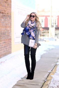 Plaid Blanket Scarf and Over-the-Knee Boots - Cort In Session