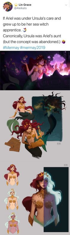 "If Ariel was under Ursula's care and grew up to be her sea witch apprentice."" Canonically, Ursula was Ariel's aunt (but the concept was abandoned.) Q: - iFunny :) Disney Pixar, Disney Magic, Disney Amor, Art Disney, Disney Kunst, Disney Animation, Disney And Dreamworks, Disney Love, Disney Characters"
