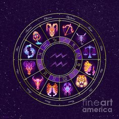PERSONALISED ZODIAC ART - Aquarius - Zodiac Lightburst Circle by ©ifourdezign - Available to buy #Prints #Posters #FineArtAmerica #Zodiac #Astrology #Starsigns #TwelveSigns #Fractal #Abstract #DigitalArt (Please retain ALL credit -TY)