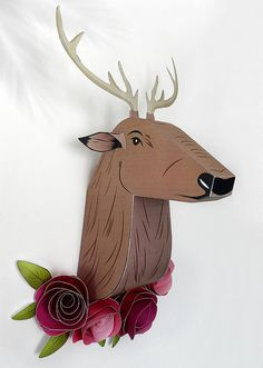 Deer head made in paper for wall, DIY deer paper, wall decor, deer paper craft, faux taxidermy deer