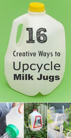16 Creative Ways to Reuse and Upcycle Milk Jugs • milk jug DIY projects • milk jug crafts
