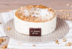 Pinolo cotto: semifreddo dessert with toasted pine nuts held in two layers of almond birttl Fresh Cream, Vanilla Cake, Almond, Cheese, Pastries, Desserts, Pine, Layers, Food