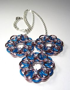 Blue and Pink Helm Weave Chain Mail Pendant Necklace