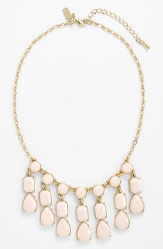 Wearing for Sunday brunch! Love the pastel pink gems on this statement necklace.