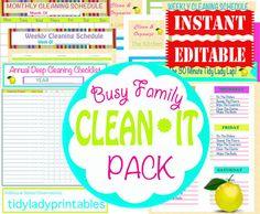 INSTANT Download - Cleaning Printable Set - Home Management Binder - 13 Documents