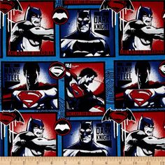 DC Comics Batman v Superman Dawn of Justice Man of Steel & Dark Knight Blue from @fabricdotcom  Licensed by Dc Comics for Camelot Fabrics, this cotton print fabric is perfect for quilting, apparel and home decor accents. This is a licensed product and not intended for commercial use. Colors include blue, red, black and white.