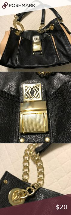 Kate Landry purse. Like New Black with pink trim and gold Kate Landry Bags Shoulder Bags Leather Loafers, Leather Clutch, Leather Purses, Leather Handbags, Large Shoulder Bags, Shoulder Purse, Leather Shoulder Bag, Tote Purse, Clutch Bag