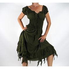 Frill Bottom Fern Green Zootzu Renaissance Festival Dress Medieval... ($60) ❤ liked on Polyvore featuring costumes, black, dresses, women's clothing, renaissance festival costumes, renaissance costumes, ladies halloween costumes, pirate halloween costumes and womens halloween costumes