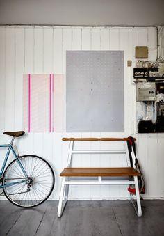 IKEA PS 2014 bench & unframed relief prints by Scholten & baijings